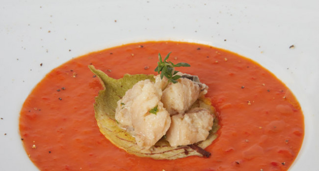 CREAM OF RED PEPPER WITH ROCKFISH ON AN AUTUMN LEAF